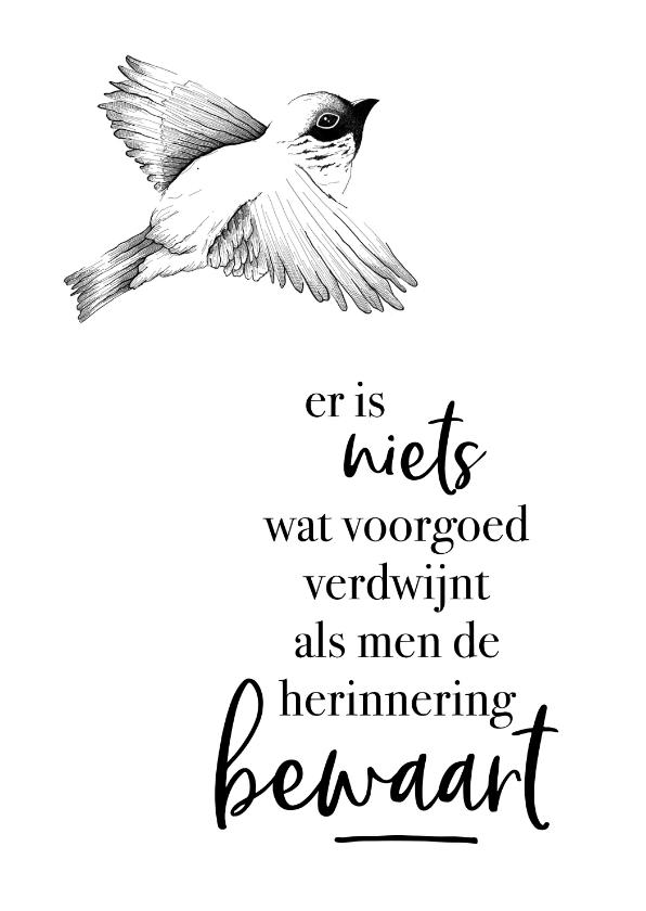 Condoleancekaarten - Condoleance  - vogel er is niets wat voorgoed verdwijnt