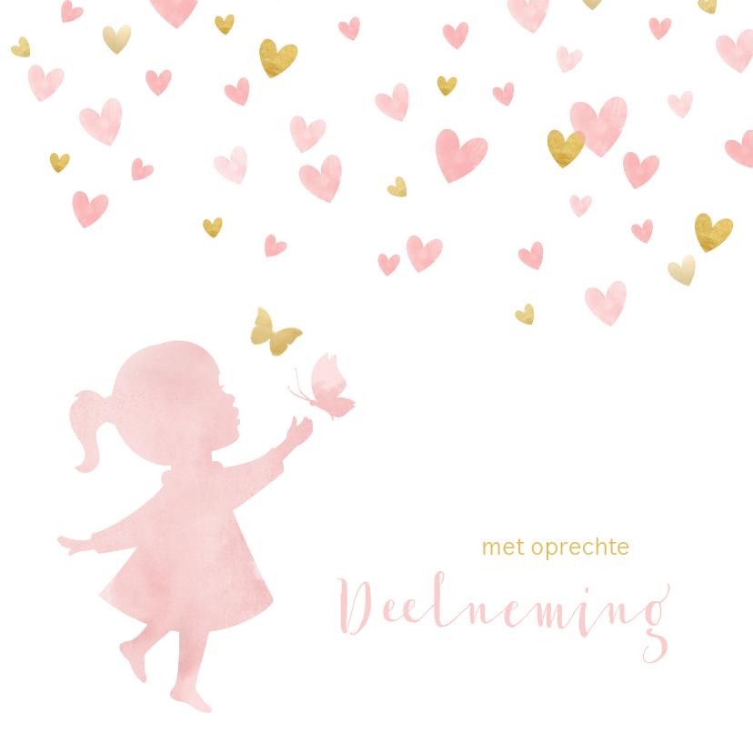 Condoleancekaarten - Condoleance waterverf silhouet met vlinders waterverf roze