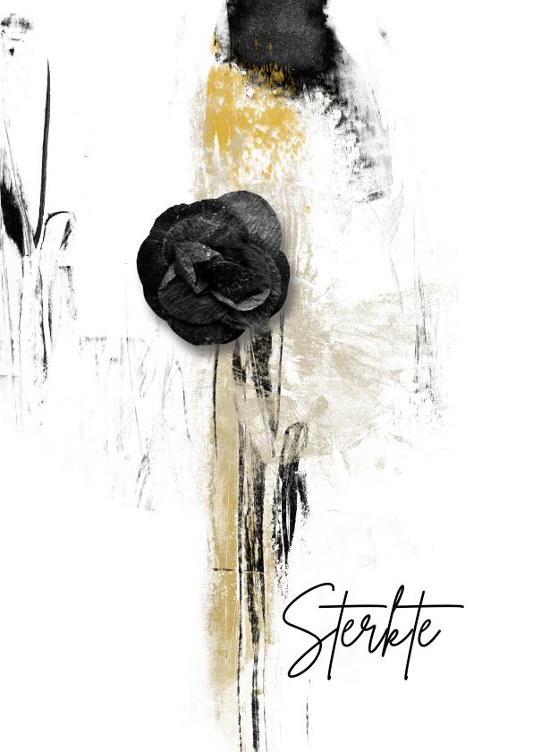 Condoleancekaarten - Condoleancekaart black flower