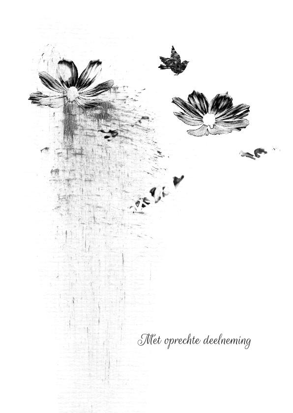 Condoleancekaarten - Condoleancekaart bloemen schets