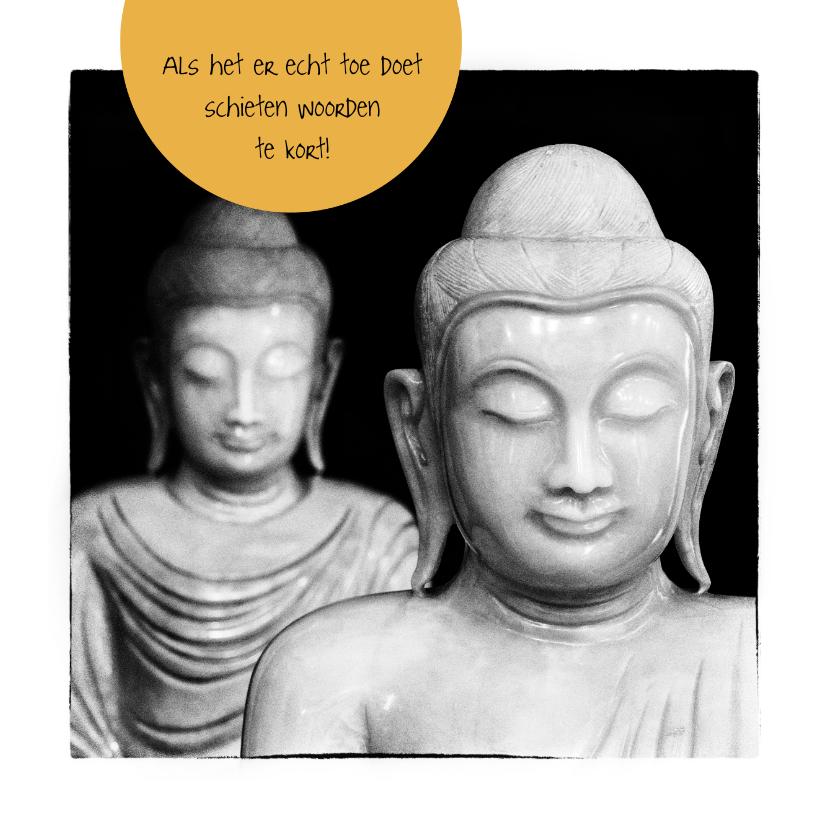 Condoleancekaarten - Condoleancekaart Buddha zwart wit - OT