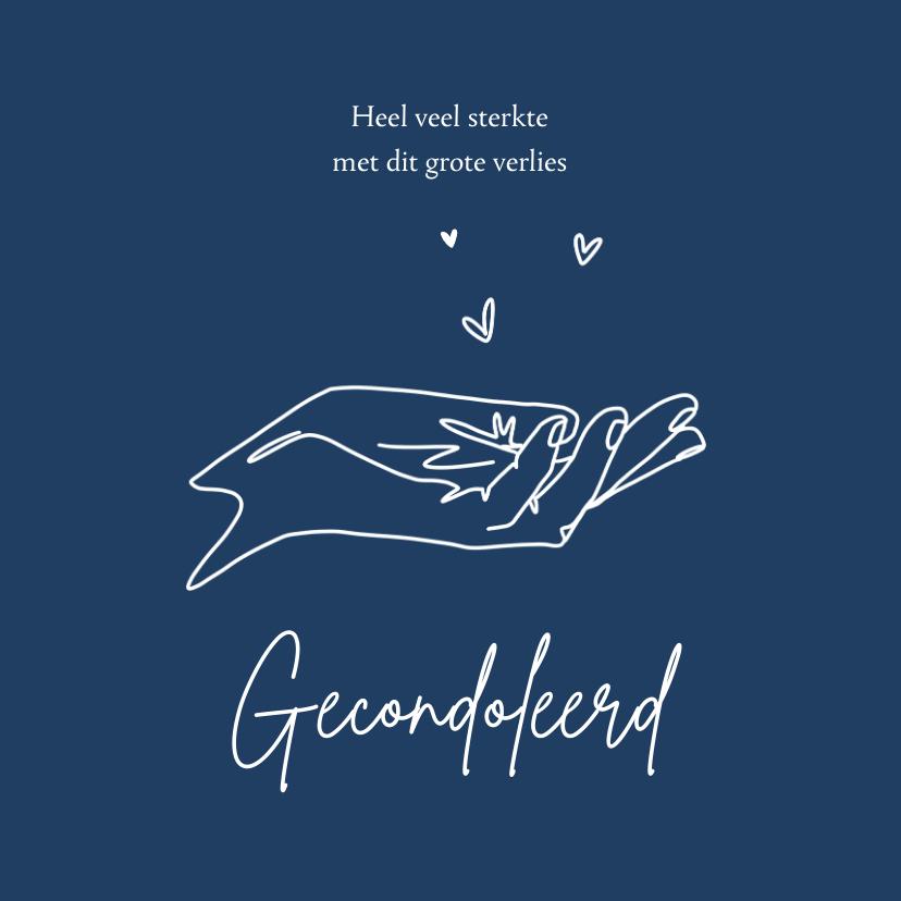 Condoleancekaarten - Condoleancekaart christelijk palm hand God hartjes liefde