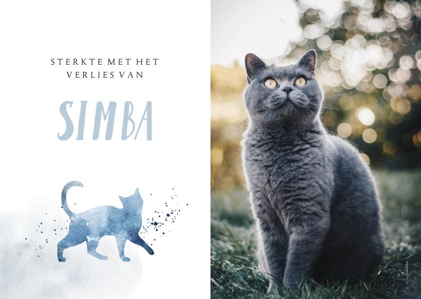 Condoleancekaarten - Condoleancekaart huisdier kat grote foto waterverf spetters