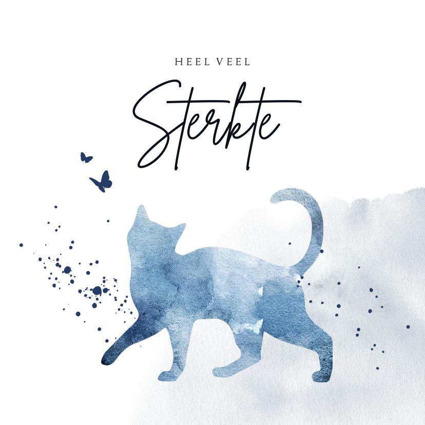 Condoleancekaarten - Condoleancekaart huisdier kat waterverf blauw spetters