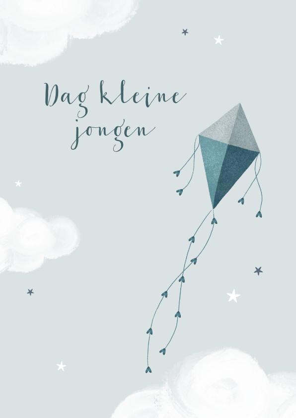 Condoleancekaarten - Condoleancekaart jongen kind baby vlieger wolken sterren