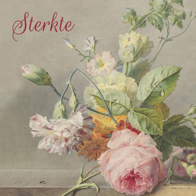 Condoleancekaarten - Condoleancekaart met antiek bloemenschilderij