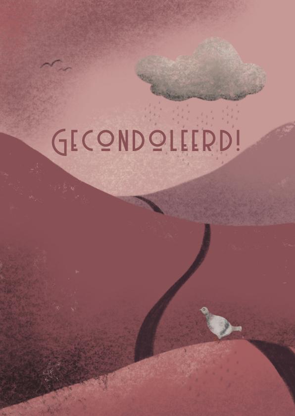 Condoleancekaarten - Condoleancekaart met duif en regenwolk in een berglandschap