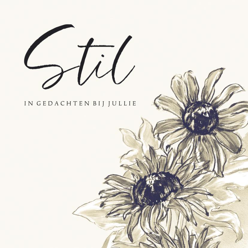 Condoleancekaarten - Condoleancekaart met geschilderde zonnebloemen