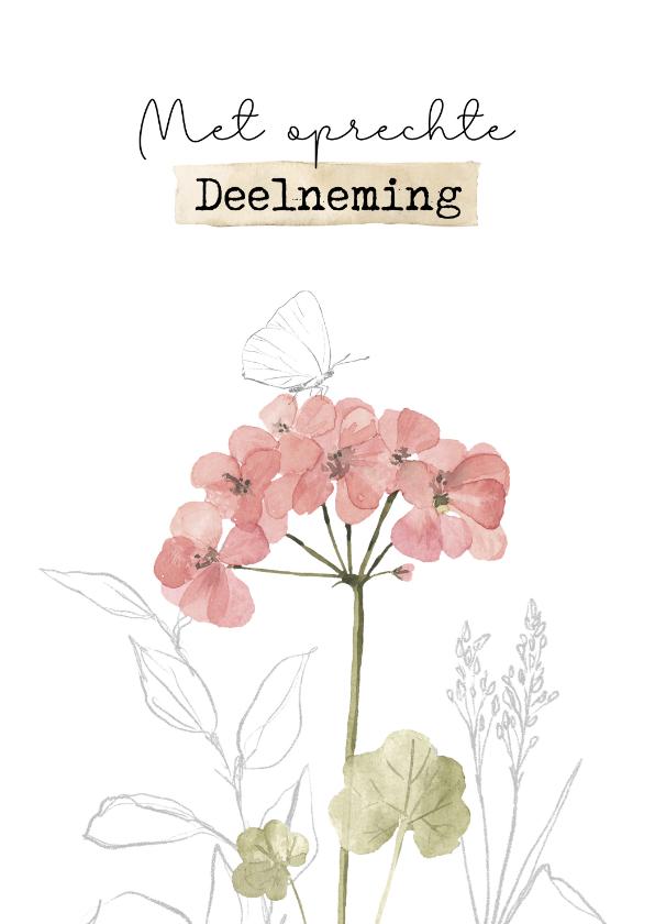 Condoleancekaarten - Condoleancekaart met getekende vlinder
