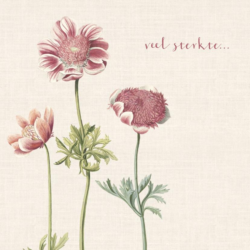 Condoleancekaarten - Condoleancekaart met illustratie anemonen