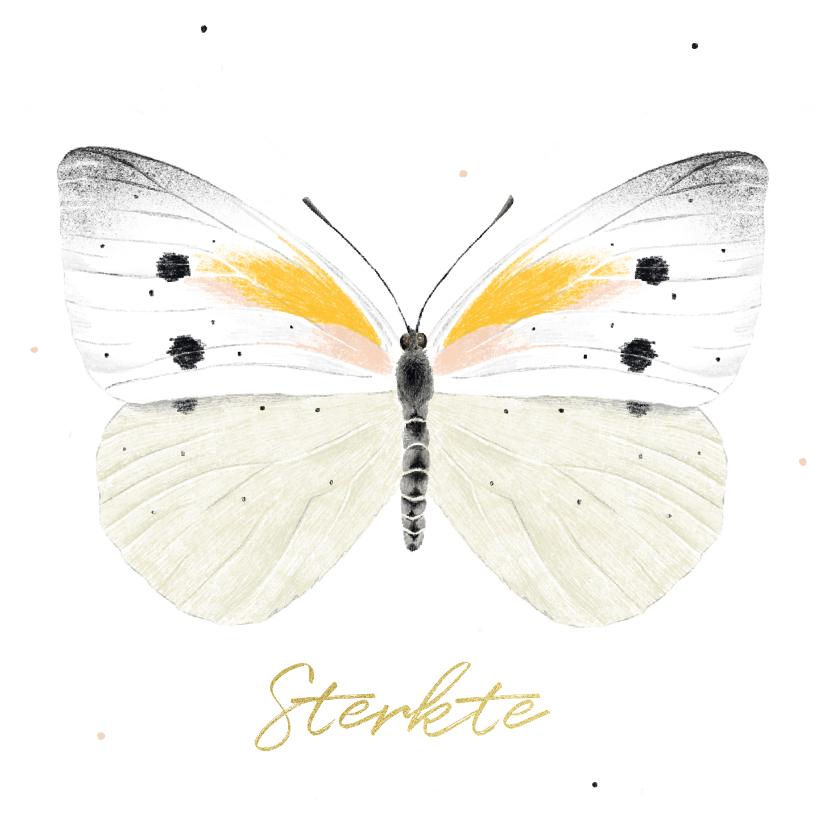 Condoleancekaarten - Condoleancekaart met illustratie van een vlinder