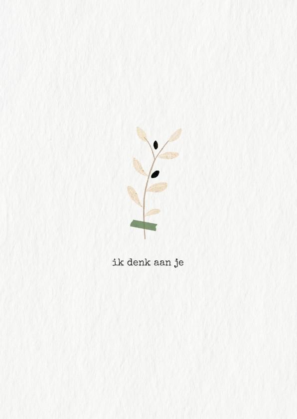 Condoleancekaarten - Condoleancekaart met olijftakje in kraftpapier
