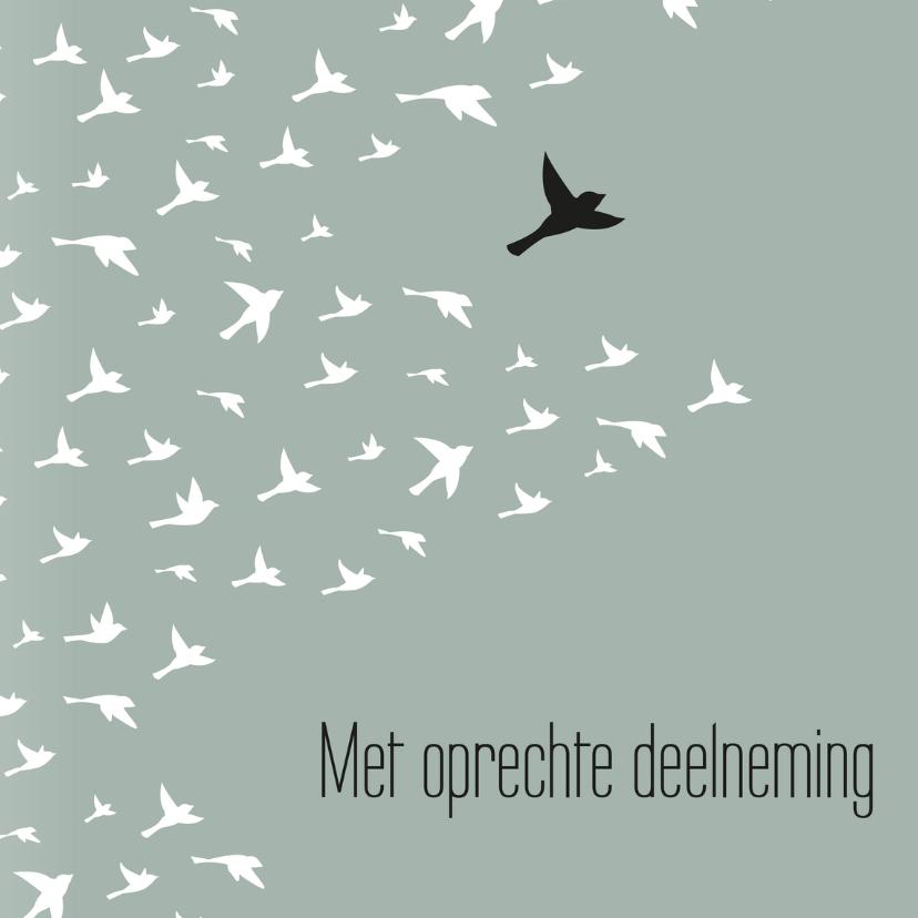 Condoleancekaarten - Condoleancekaart 'Met oprechte deelneming' vogels