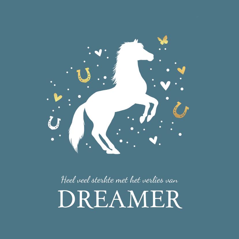 Condoleancekaarten - Condoleancekaart met paard, vlinder, hartjes en voetstapjes