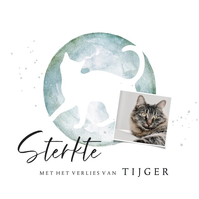 Condoleancekaarten - Condoleancekaart met silhouet van kat in waterverf met foto
