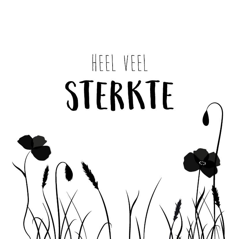 Condoleancekaarten - Condoleancekaart met silhouette van bloemen en siergras
