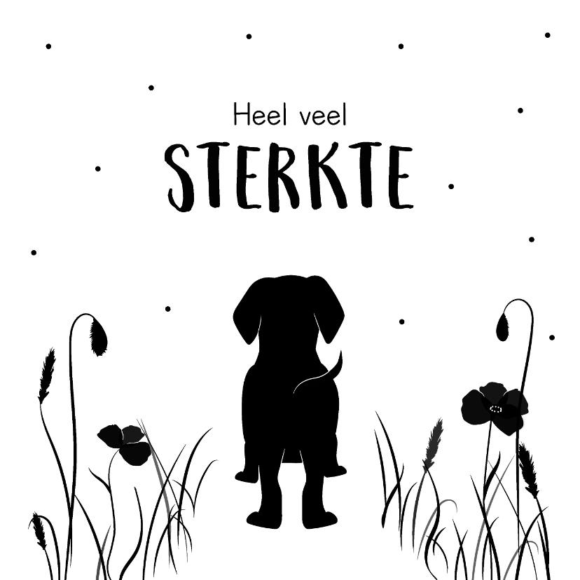 Condoleancekaarten - Condoleancekaart met silhouette van een hond