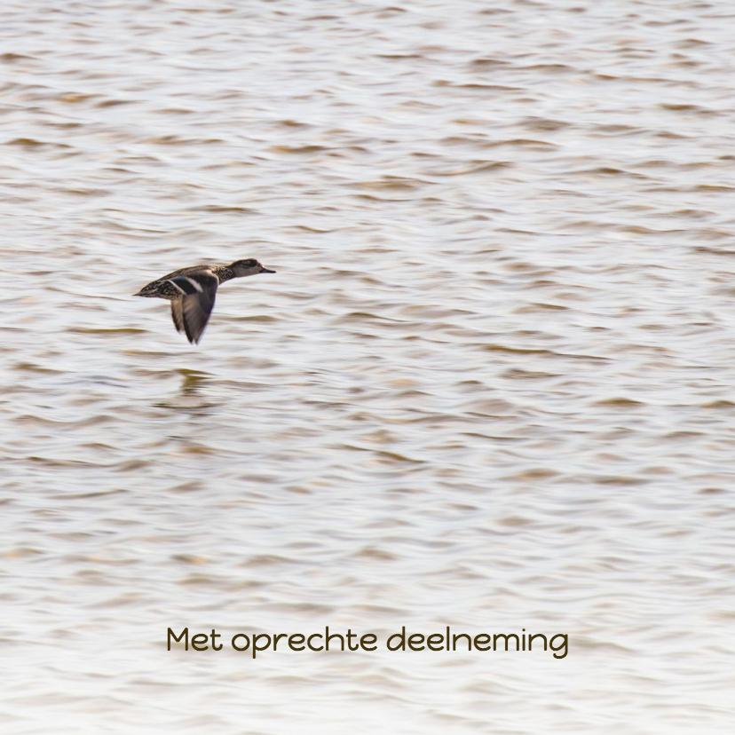 Condoleancekaarten - Condoleancekaart met vliegende eend op zee