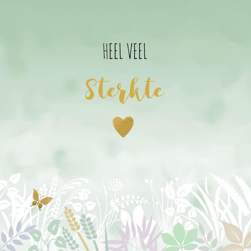 Condoleancekaarten - Condoleancekaart met vlinder en hart op groen