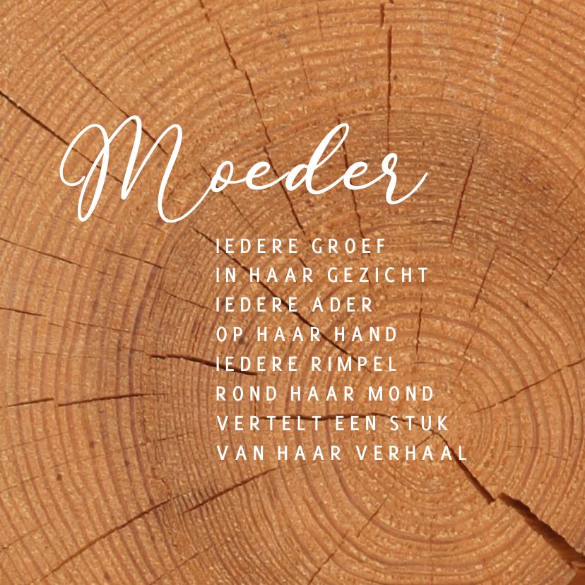 Condoleancekaarten - Condoleancekaart moeder met hout