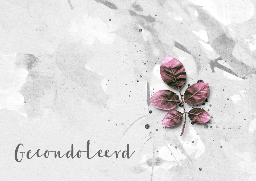 Condoleancekaarten - Condoleancekaart Pink Leaves