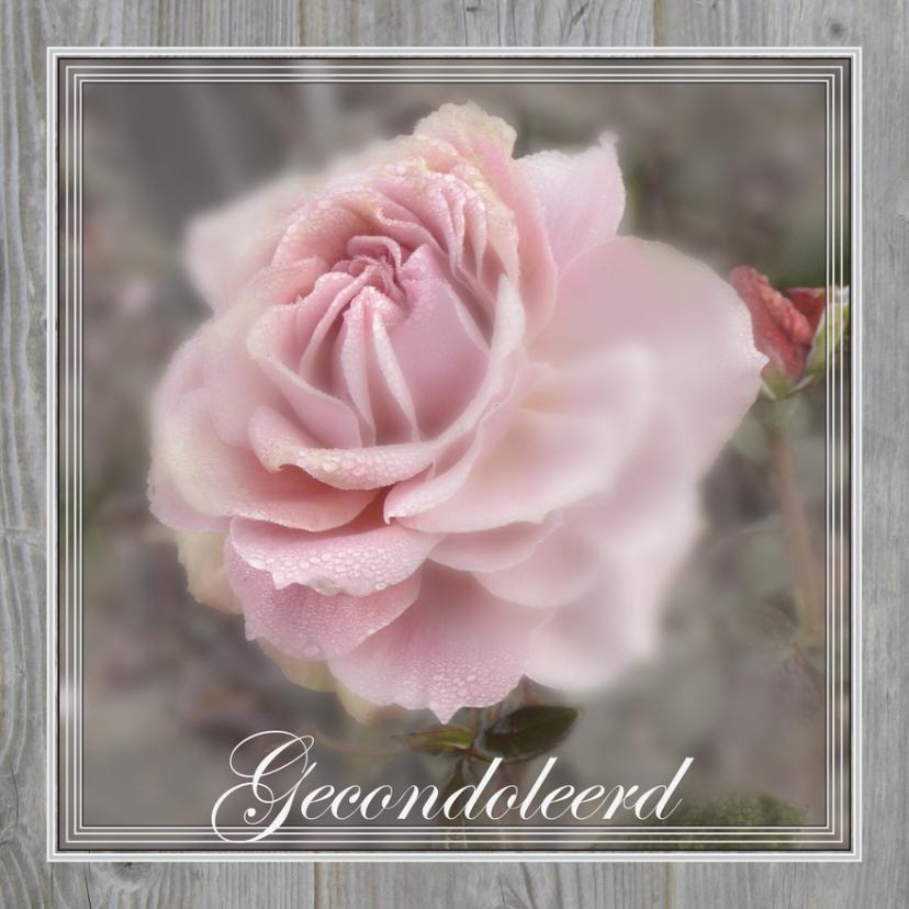 Condoleancekaarten - Condoleancekaart, Roos in een grijze lijst