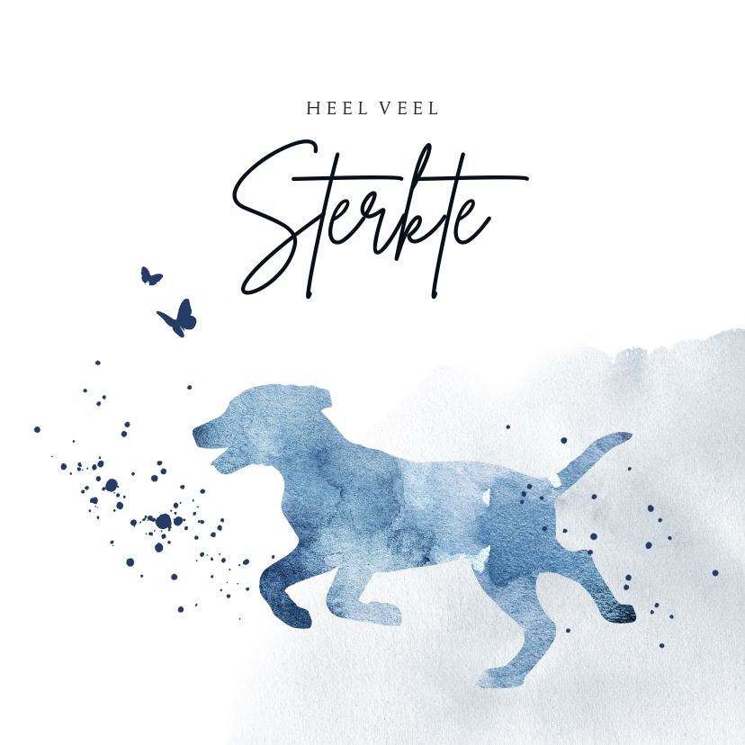 Condoleancekaarten - Condoleancekaart silhouet hond waterverf blauw spetters