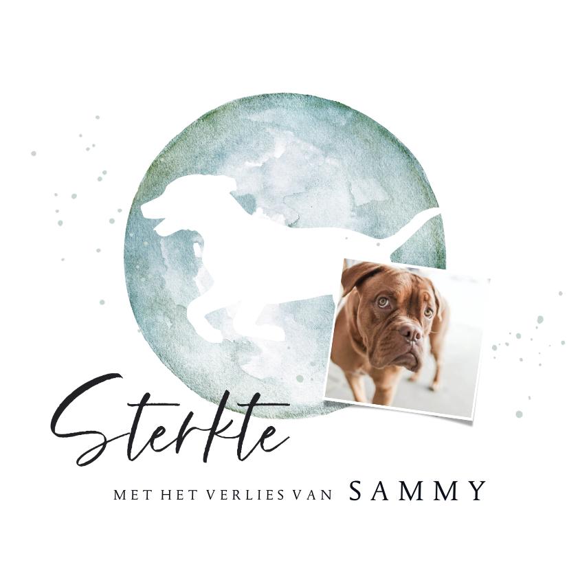 Condoleancekaarten - Condoleancekaart silhouette hond waterverf met foto