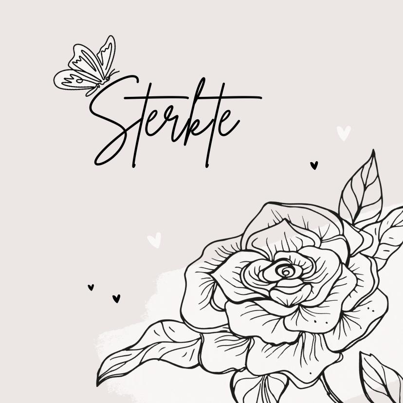 Condoleancekaarten - Condoleancekaart sterkte bloem hartjes vlinder