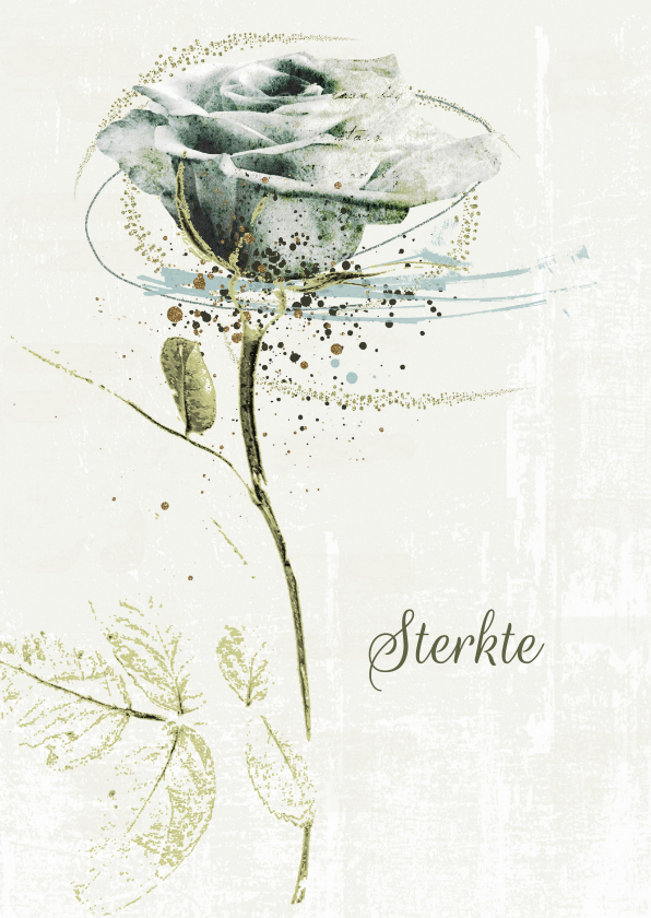 Condoleancekaarten - Condoleancekaart sterkte witte roos