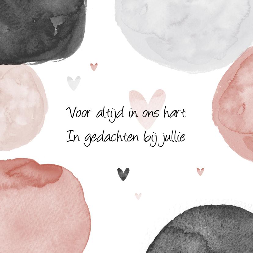 Condoleancekaarten - Condoleancekaart sterkte woorden waterverf hartjes