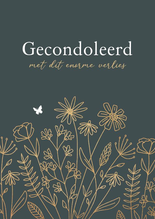 Condoleancekaarten - Condoleancekaart stijlvol bloemen goud vlinder herinneringen