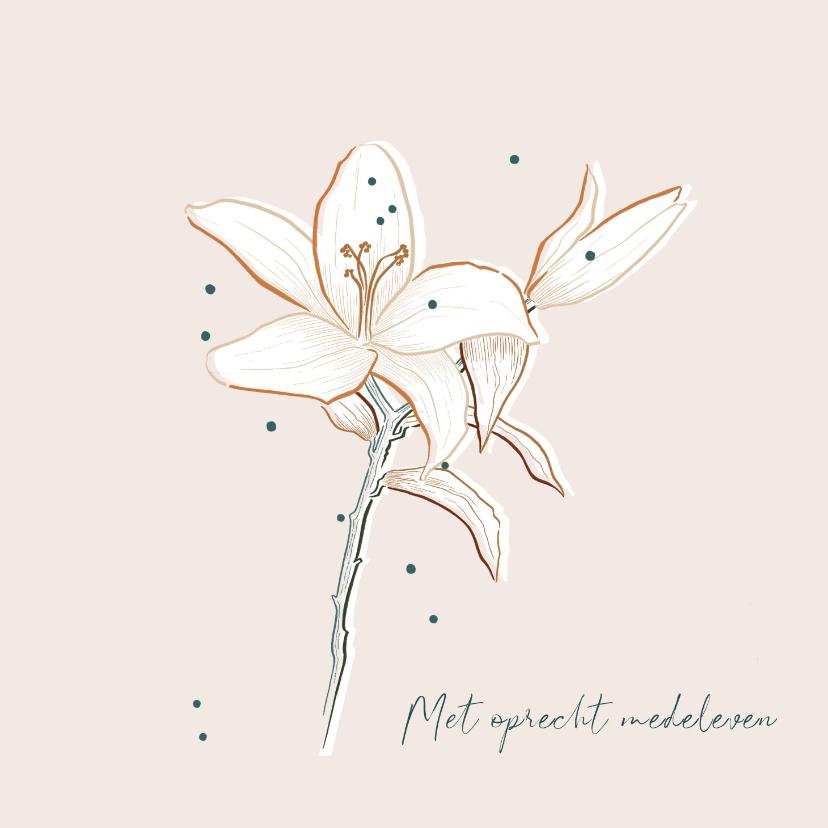 Condoleancekaarten - Condoleancekaart stijlvol minimalistisch met Lelie