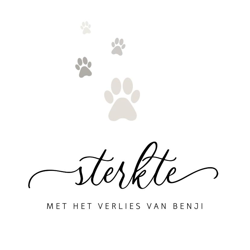 Condoleancekaarten - Condoleancekaart stijlvol sterkte hond pootjes verlies