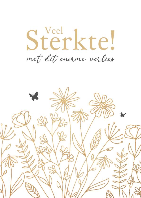 Condoleancekaarten - Condoleancekaart veel sterkte vlinders en bloemen