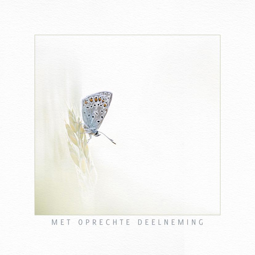 Condoleancekaarten - Condoleancekaart vlinder op grashalm