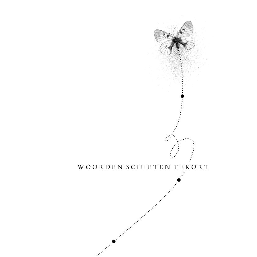 Condoleancekaarten - Condoleancekaart vlinder woorden schieten tekort