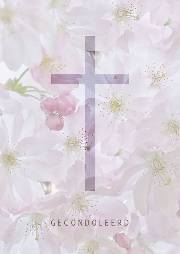 Condoleancekaarten - Deelneming met bloesem - kruis
