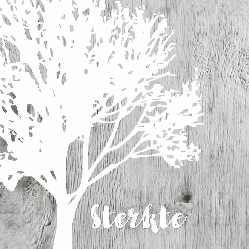 Condoleancekaarten - Eigen tekst boom silhouet op hout