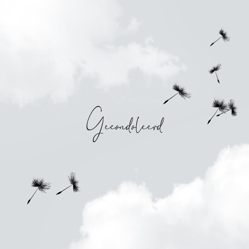 Condoleancekaarten - Gecondoleerd kaart wolken paardenbloem
