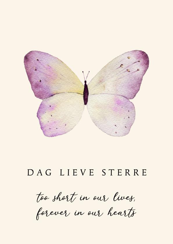 Condoleancekaarten - Kaart overlijden kind pastel vlinder