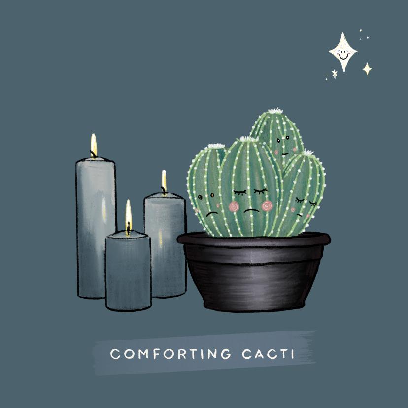 Condoleancekaarten - Lieve condoleancekaart met cactussen, kaarsen en sterren