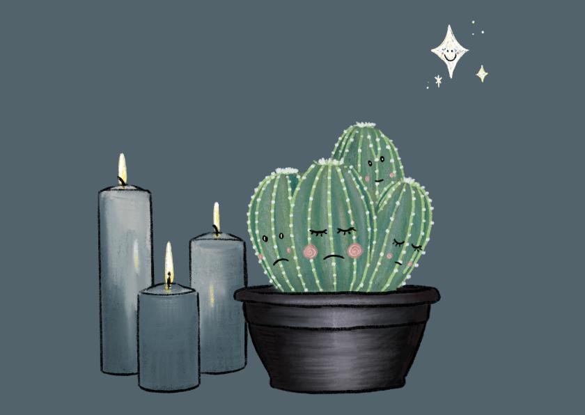 Condoleancekaarten - Lieve condoleancekaart met cactussen, sterren & kaarsen