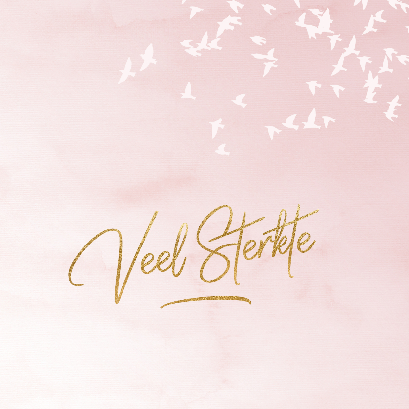 Condoleancekaarten - Luxe condoleance kaart vogels roze