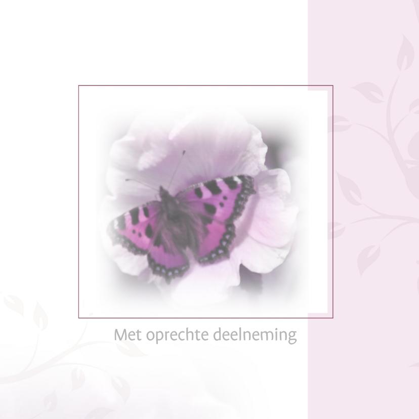 Condoleancekaarten - Met oprechte deelneming vlinder