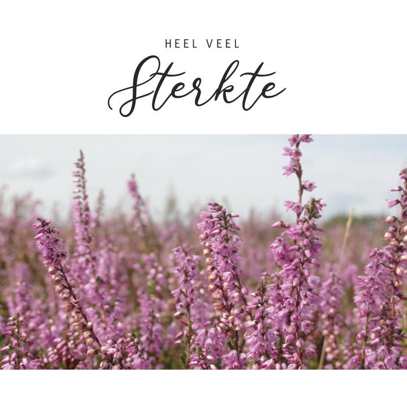 Condoleancekaarten - Moderne condoleance kaart met foto van bloeiende heide