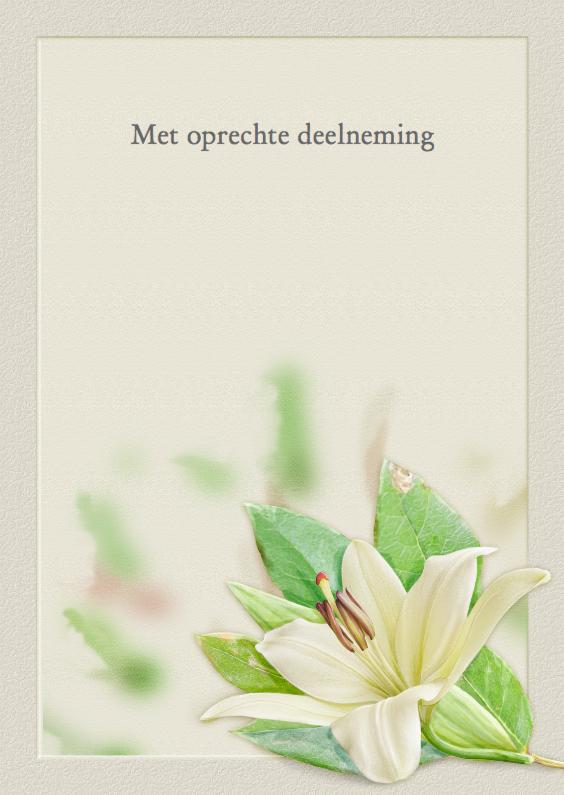 Condoleancekaarten - Mooie condoleancekaart met afbeelding van een Lelie