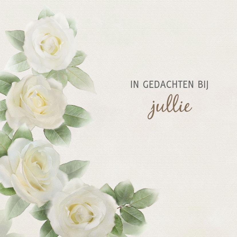 Condoleancekaarten - Mooie condoleancekaart met rozen op gewassen achtergrond