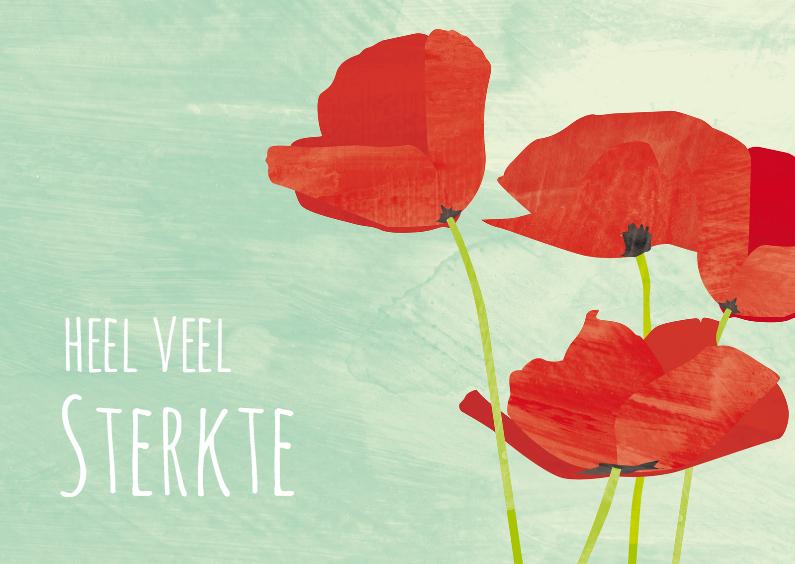 Condoleancekaarten - Rouwkaart kleurrijk met klaproos