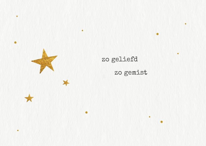 Condoleancekaarten - Rouwkaart voor overleden kindje met gouden sterretjes